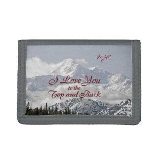 Vintage Mountains: I Love You to the Top and Back Tri-fold Wallets