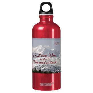 Vintage Mountains: I Love You to the Top and Back Water Bottle