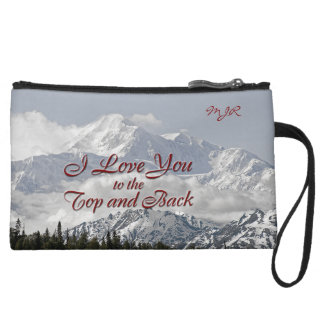 Vintage Mountains: I Love You to the Top and Back Wristlet Wallet
