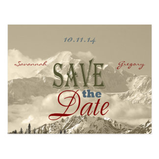 Vintage Mountains: Save the Date Personalize Postcard