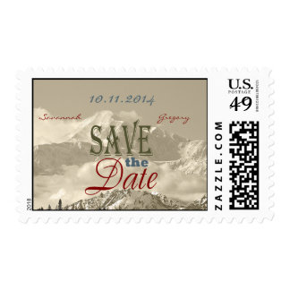 Vintage Mountains: Save the Date Personalize Stamps