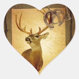 Vintage mounted deer heart sticker