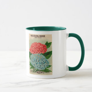 vintage mourning bride flower seed packet mug
