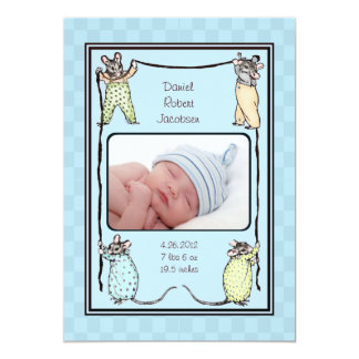 Vintage Mouse Baby Boy Birth Announcement Photo