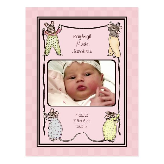 Vintage Mouse Baby Girl Birth Announcement Photo Postcard