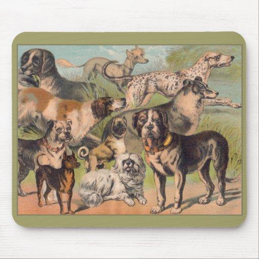 Vintage Mousepad, perros Tapete De Raton