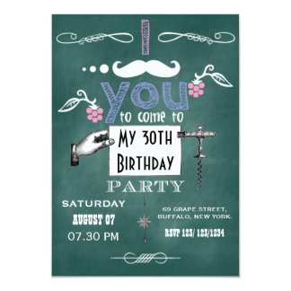 Vintage moustache Chalkboard Birthday Party Invite