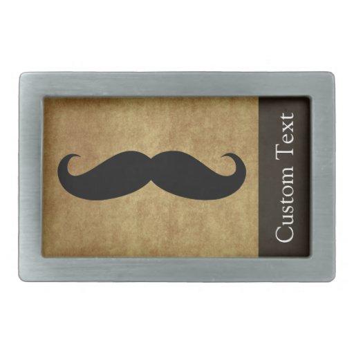 Vintage Moustache w/Custom Text Rectangular Belt Buckle