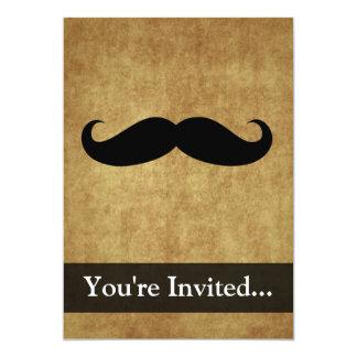 "Vintage Moustache w/Custom Text 5"" X 7"" Invitation Card"