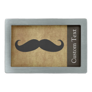Vintage Moustache w/Custom Text Rectangular Belt Buckle