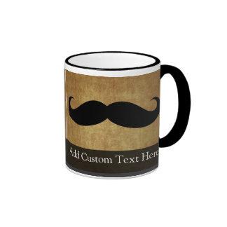 Vintage Moustache w/Custom Text Ringer Coffee Mug