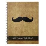 Vintage Moustache w/Custom Text Spiral Notebook