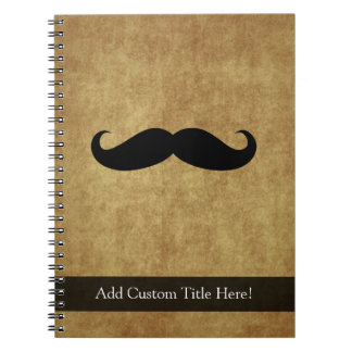 Vintage Moustache w/Custom Text Spiral Notebook