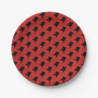 Vintage Movie Camera Pattern Home Theater Paper Plate