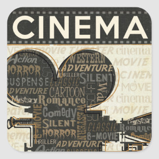 Vintage Movie Camera Square Sticker