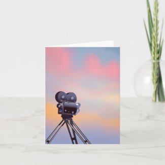 Vintage Movie camera sunset Holiday Card