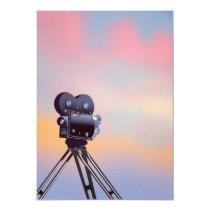 Vintage Movie camera sunset Invitation