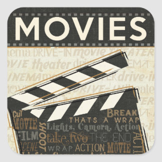 Vintage Movie Clapper Square Sticker