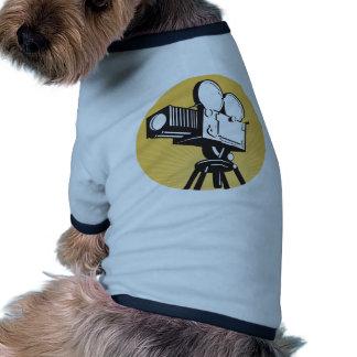 vintage movie film camera retro style doggie tee shirt