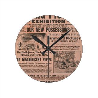 Vintage Movie Poster Round Clock