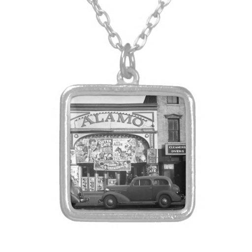Vintage Movie Theater Square Pendant Necklace