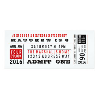Vintage Movie Ticket Birthday Invitation