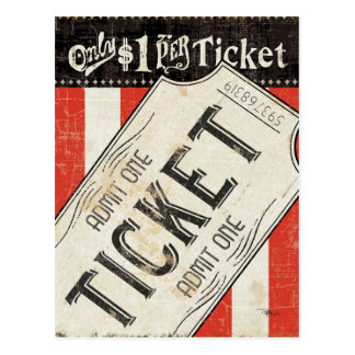 Vintage Movie Ticket Postcard