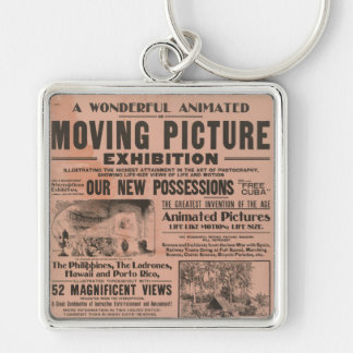 Vintage Moving Picture Exhibition Silver-Colored Square Keychain