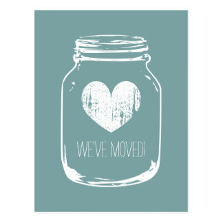 Vintage moving postcards with rustic mason jar