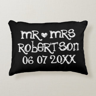 Vintage Mr and Mrs black chalkboard accent pillow