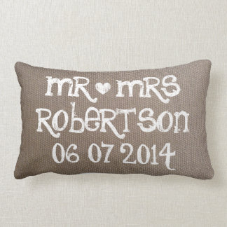 Vintage Mr and Mrs burlap lumbar wedding pillow