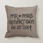 Vintage Mr and Mrs burlap wedding throw pillow