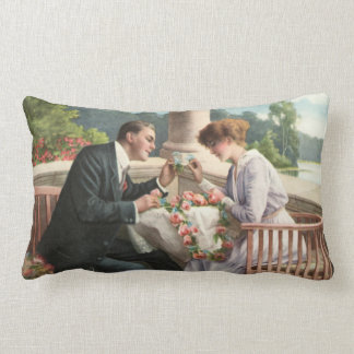 Vintage Mr. and Mrs., love Throw Pillow