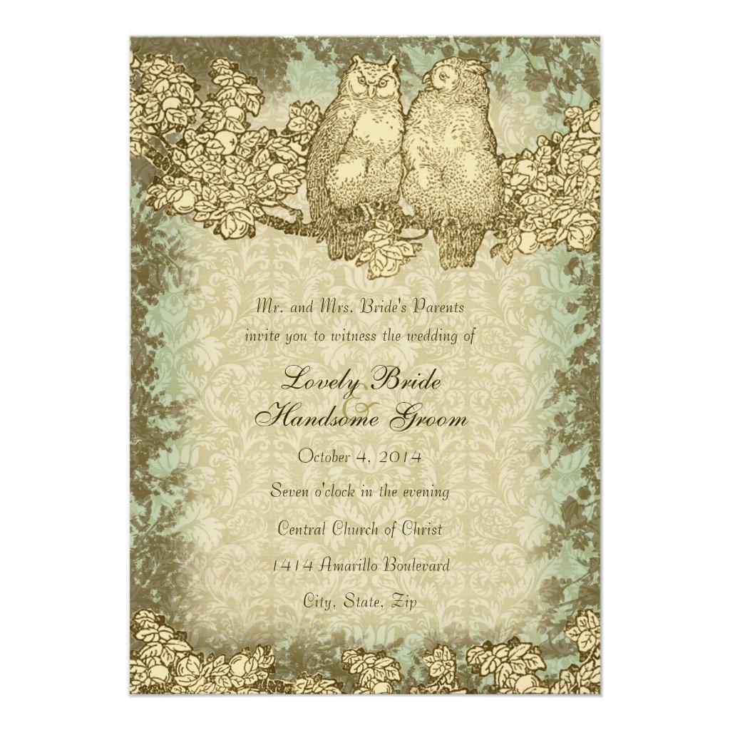 Vintage Mr. and Mrs. Owl Damask Wedding Invitation