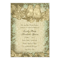 Vintage Mr. and Mrs. Owl Damask Wedding Invitation