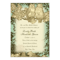 Vintage Mr. and Mrs. Owl Wedding Invitation