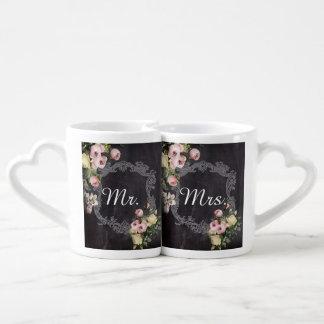 Vintage mr and mrs rustic chalkboard wedding coffee mug set