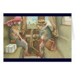 Vintage - Mr & Mrs Fish Go Traveling Greeting Card