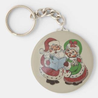 Vintage Mr. Santa Couple Keychain