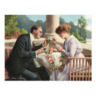 Vintage Mrs. and Mr., love Postcard