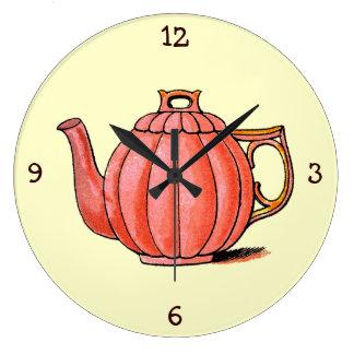 Vintage Mrs Beeton Tea Time Teapot Large Clock