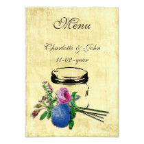 vintage mrustic mason jar  brown wedding menu card