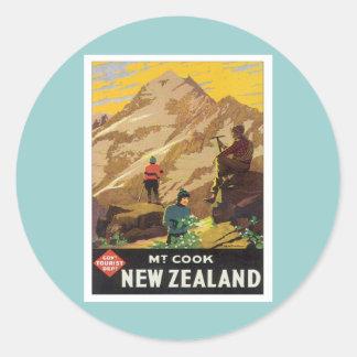 Vintage Mt.Cook Nueva Zelanda Etiquetas Redondas