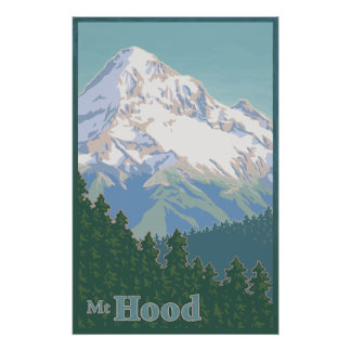 Vintage Mt. Hood Travel Poster