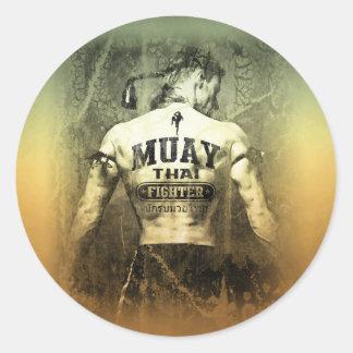 Vintage Muay Thai Fighter Classic Round Sticker