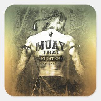 Vintage Muay Thai Fighter Square Sticker