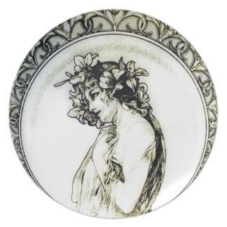 Vintage Mucha Art Nouveau Woman Lily Plate