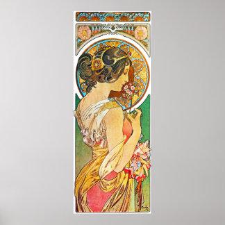Vintage Mucha floral Poster