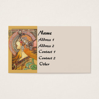 Vintage Mucha Lady Business Card