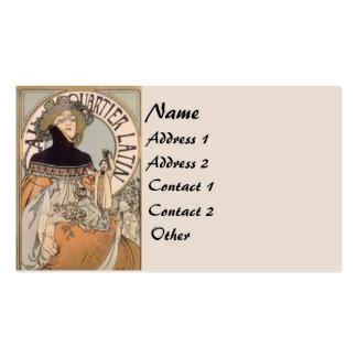 Vintage Mucha Latin Lady Business Card